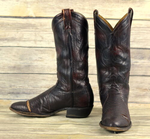 Tony, Lama, Cowboy, Boots, Oxblood, Leather, Lizard, Exotic, Mens, Size, 9, D, Distressed,