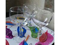 Three small wine glasses