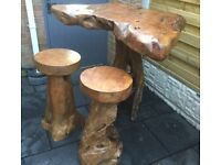Teak Root Wood Breakfast Bar & Stools.