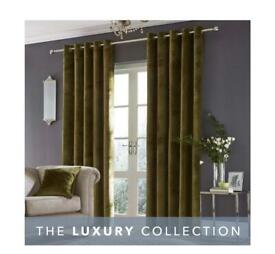 Dunelm Stockton olive green velvet eyelet curtains