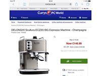 Champagne Delonghi Scultura coffee machine