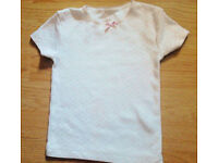 Child Girl's White with Pink Hearts Short Sleeve Cami Top.Age 2-3 Years.