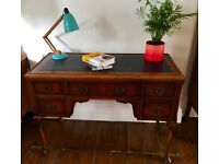 Antique Vintage Walnut And Leather Writing Desk