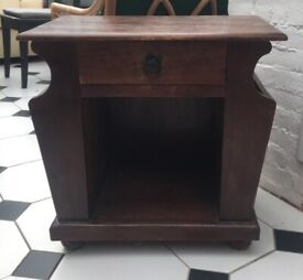 Side table solid wood with drawer.