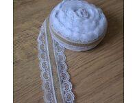 5m Jute/Hessian/Burlap with White Lace Ribbon,Wedding,Decoration,Craft, 5,5cm