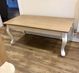 Shabby Chic cream and wood TV Unit and Coffee Table