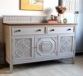 Stunning Antique Shabby Chic Painted Oak Church Sideboard Cabinet Cupboard