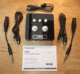 Tascam iUR2 (iU2) USB 2.0 Audio/MIDI Interface for Windows PC / Mac / iOS – Mint