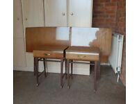 VINTAGE/RETRO MEREDEW 4pc BEDROOM SET ,DRESSING TABLE ,BEDSIDE TABLES ,HEADBOARD ,LOCAL DELIVERY