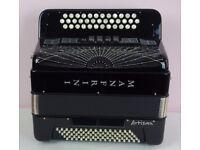Manfrini Artisan 3 row 80 bass B/C/C# with Musictech bass midi and sennheiser microphones