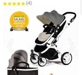 BRAND NEW AND IN THE BOX. 2 in 1 Baby Pushchair Cot Travel, Grey