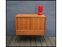 Mid Century Teak Media Unit TV Stand Cabinet Record Storage on Hairpin Legs Vintage Retro