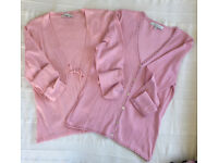 2 beautiful Laura Ashley pale pink long sleeve cardigans. 1 each sizes 12 & 14. £8 ovno both/£5 ea