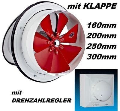 25cm Abluftventilator mit Regler Ablüfter Abluftgebläse Abluft Lüfter-Ventilator