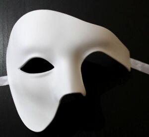 TOP QUALITY WHITE HALF FACE PHANTOM Venetian Masquerade Party Theatrical Mask
