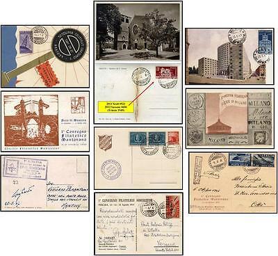 5 ITALY post-war 1940's Commemorative Postcards philatelic events Italian Cities