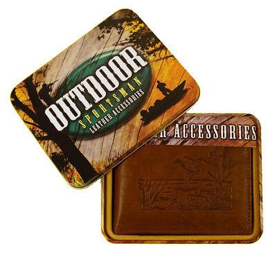 Lone Ducks Embossed Leather Billfold Wallet with Gift Tin - Embossed Leather Billfold Wallet
