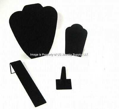 4 Piece Black Velvet Jewelry Display Presentation Or Photography Set Bv2