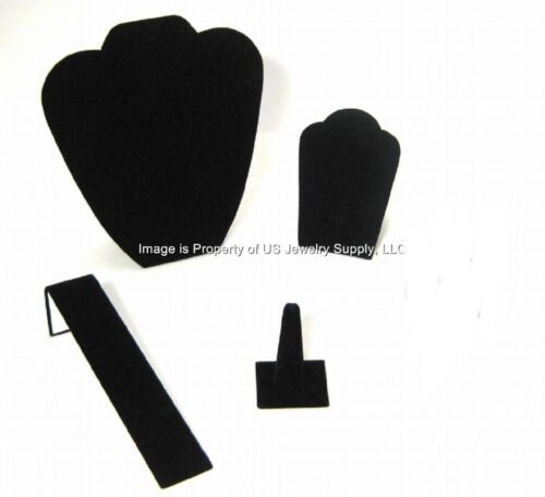 4 Piece Black Velvet Jewelry Display Presentation or Photography Set BV2