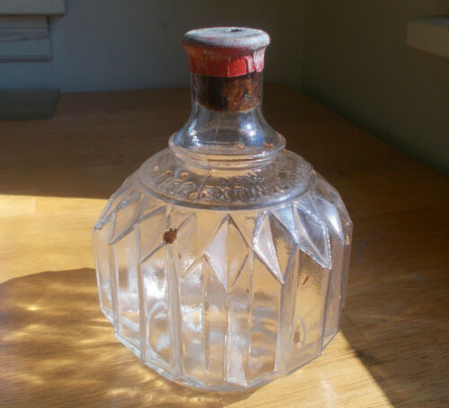 HAYWARD FIRE EXTINGUISHER NEW YORK 1880s SCARCE CLEAR PLEATED BOTTLE EMPTY