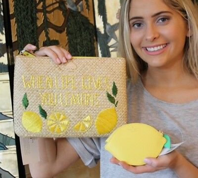NWT Kate Spade Vita RIva Straw Clutch & Lemon Coin Purse MAKE LIMONCELLO