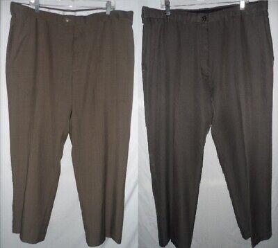 HAGGAR Brown Green 40 x 31 Comfort Expandable Stretched Waist Men Dress Pants