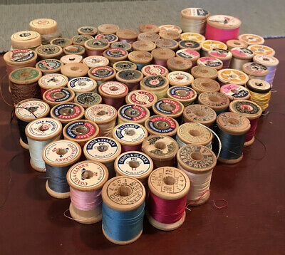Lot of 83 Vintage Thread Spools JP Coats Coats and Clarks Wooden Cotton Silk
