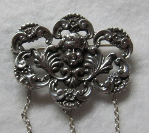 ORNATE STERLING SILVER CHATELAINE PIN WITH CHERUB - NEW