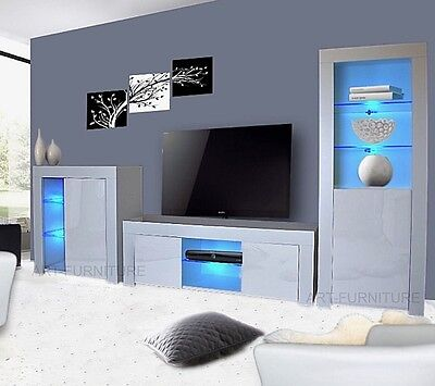 Modern Gloss Living Room Furniture  TV Unit Display Cabinet  Cupboard Led Lights