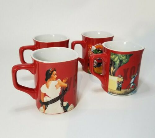 Nescafé Clasico NESCAFE  Mexico Mugs FOUR 4 Coffee Tea Cups - Red - HARD TO FIND