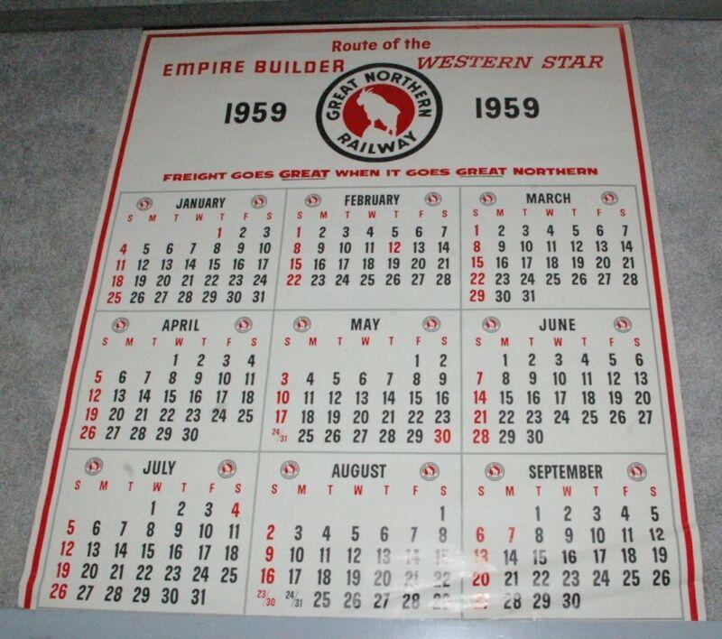 Large 1959 Great Northern Railroad Calendar