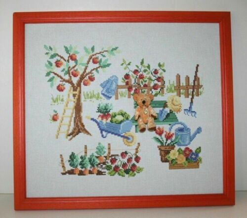 "Teddy Bear in the Garden Handmade Needlepoint in a Wood Frame 16""W x 14""H"
