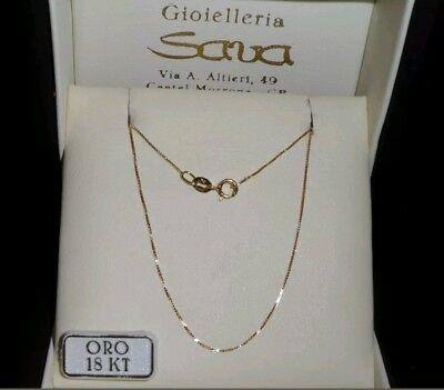 Collana Veneziana Unisex in Oro Giallo 750 18 kt CM 45, grammi 1 Nuova