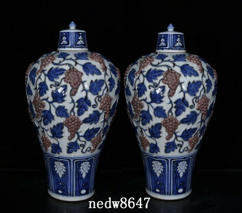 """14.6"""" Chinese Old Porcelain yuan dynasty A pair Blue white red Grape Pulm Vase"""