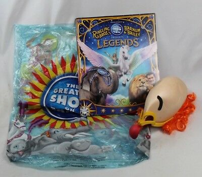 The Ringling Brothers Circus CLOWN Hat NOSE Wig Hat w/ Clown SIGNED Book & Bag - Bulk Clown Noses