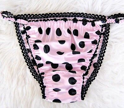 Pink Polka Dot Panties - Pink Black Polka Dot satin string bikini Sissy mens Shiny soft panties S M L XL