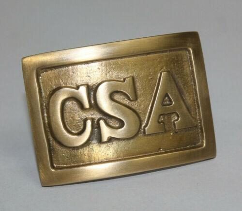 Antique Style CSA Belt Buckle Military Civil War Confederate Square Brass #1