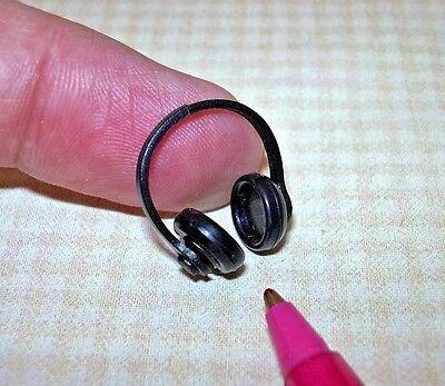 Miniature Neat Black Plastic Headphones: DOLLHOUSE 1/12 Scale