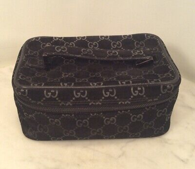 Genuine Vintage GUCCI Black Faux Suede Cosmetic Make Up Bag Toiletry Pouch