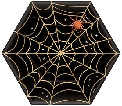 Paper Plate Spider Halloween (7 Inch Spider Web Hexagon Shaped Halloween Festive Party Paper)