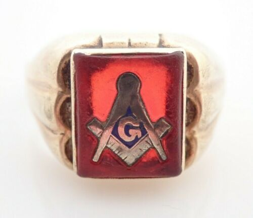10k Solid Yellow Gold Masonic Vintage Enamel Red Stone Ring Parts Repair Solder