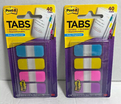 2 Packs3m Post It Tabs .625 X 1.5 Writable Repositionable 4 Bright Colors 40pk