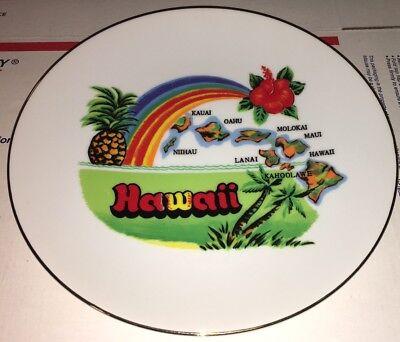 "Vintage Hawaii State Souvenir Plate Rainbow Pineapple Hibiscus 8 1/2"""