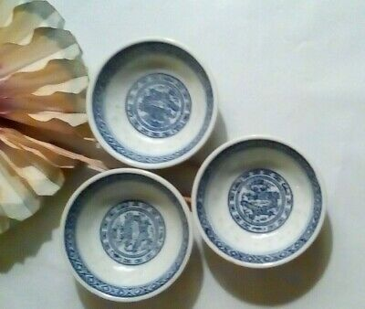 "(3)Asian Porcelain Blue & White Rice Pattern Dragon~Mini Dipping Bowl 2 1/2""x1"