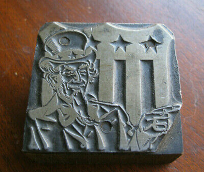 Vintage Letterpress Printing Wood Block With Uncle Sam I Want You