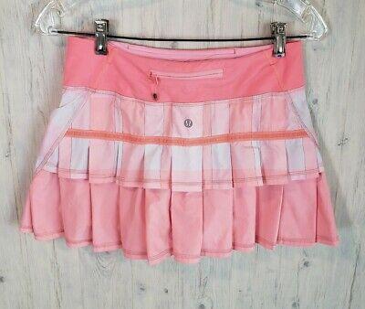 Lululemon Pace Setter Skirt Size 4 Gros Gingham Bleached Coral Pop Orange Plaid