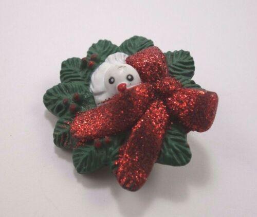 Wreath Red Glitter Bow and Bird Christmas Pin Fun World