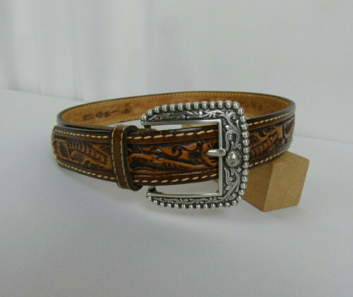 Comanchero Brown Tooled Leather Belt Size 28 Silver-Color Buckle Excellent!