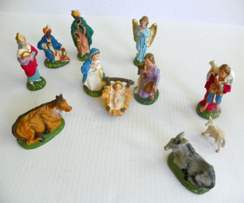 """Vintage Italy Paper Mache Composite Christmas Nativity Creche 5"""" Hand Painted"""