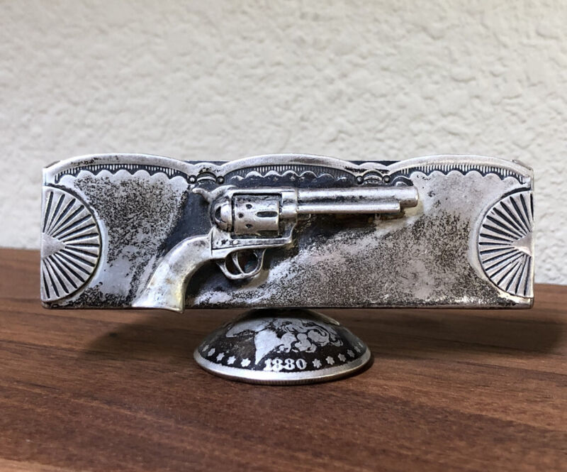 RARE VTG STERLING SILVER NATIVE AMERICAN REVOLVER GUN CARD HOLDER - TOM DEWITT